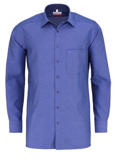 MARVELIS Modern Fit Hemd Langarm New Kent Kragen Muster blau - Hemden Meister