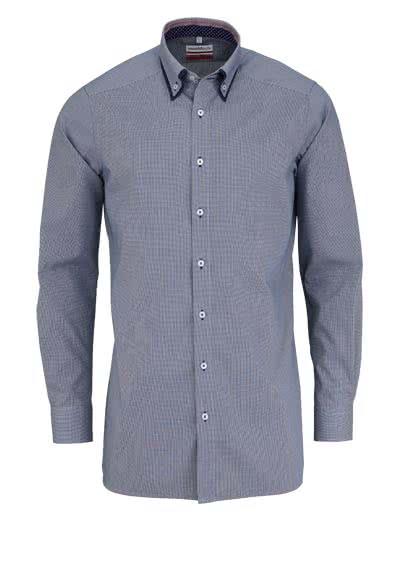 MARVELIS Modern Fit Hemd Langarm Button-Down Karo dunkelblau - Hemden Meister