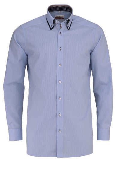 MARVELIS Modern Fit Hemd Langarm Button Down Kragen Karo hellblau - Hemden Meister