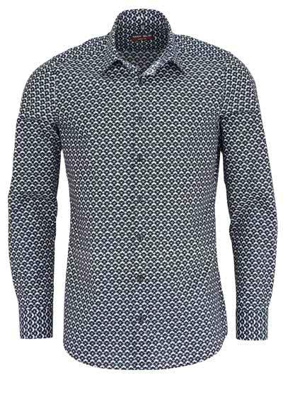 MARVELIS Body Fit Hemd Langarm New Kent Kragen Muster schwarz - Hemden Meister