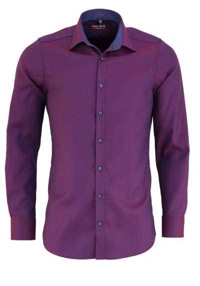 MARVELIS Body Fit Hemd Langarm New Kent Kragen Struktur lila - Hemden Meister