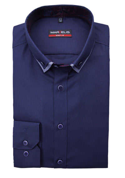 MARVELIS Body Fit Hemd Langarm Button Down Kragen navy preisreduziert