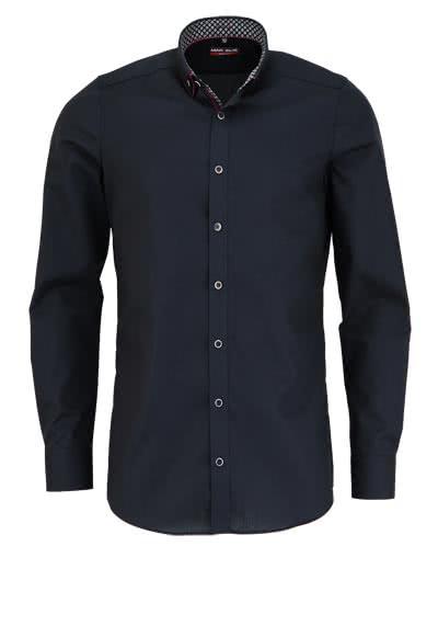 MARVELIS Body Fit Hemd Langarm New Kent Kragen mit Patch schwarz - Hemden Meister