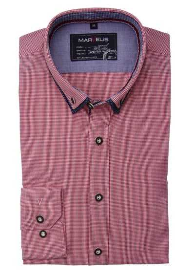 MARVELIS Casual Fit Hemd Langarm Button Down Kragen Karo rot