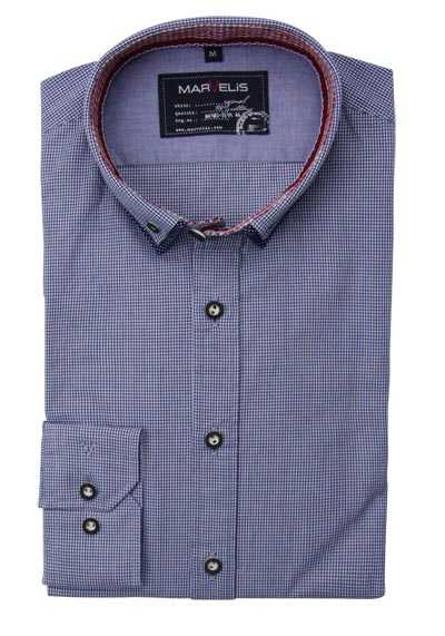 MARVELIS Casual Fit Hemd Langarm Button Down Kragen Karo blau preisreduziert