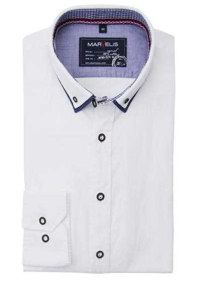 MARVELIS Casual Fit Hemd Langarm Button Down Kragen Oxford weiß
