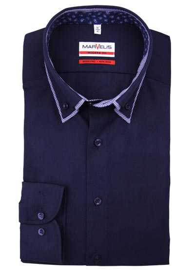 MARVELIS Modern Fit Hemd extra langer Arm Button Down Kragen nachtblau