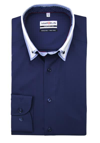 MARVELIS Comfort Fit Hemd Langarm Button Down Kragen Patch nachtblau preisreduziert
