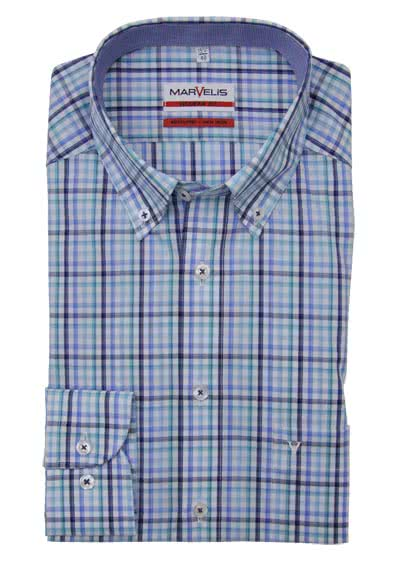 MARVELIS Modern Fit Hemd extra langer Arm Button Down Kragen Karo blau
