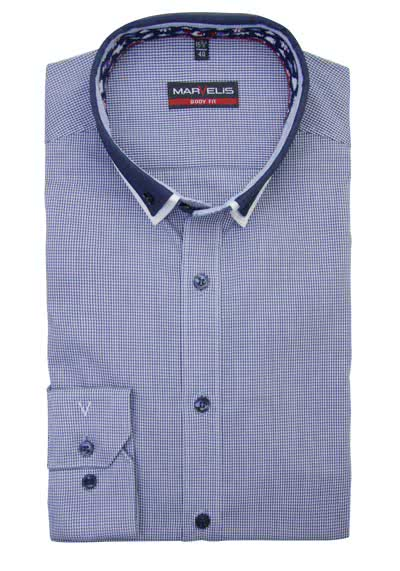 MARVELIS Body Fit Hemd Langarm Button Down Kragen Karo dunkelblau