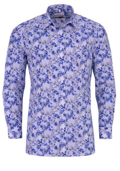 MARVELIS Modern Fit Hemd extra langer Arm Muster dunkelblau - Hemden Meister