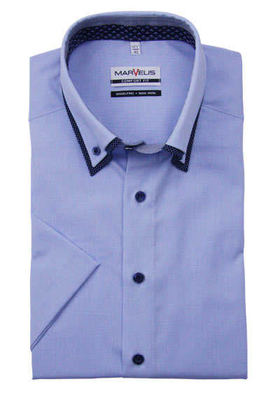 MARVELIS Comfort Fit Hemd Halbarm Button Down Kragen Karo hellblau