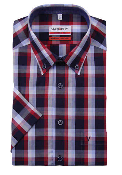 MARVELIS Modern Fit Hemd Halbarm Button-Down Kragen Karo dunkelblau