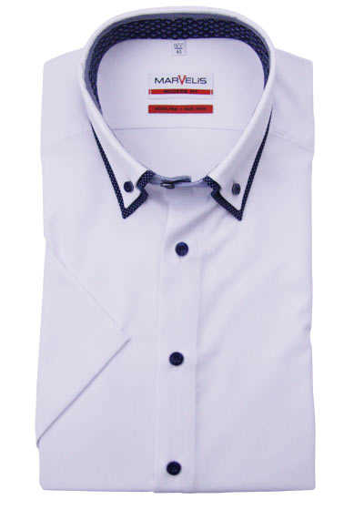MARVELIS Modern Fit Hemd Halbarm Button Down Kragen Besatz weiß