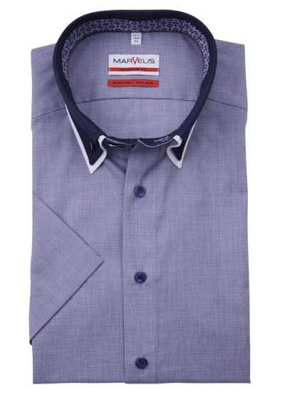 MARVELIS Modern Fit Hemd Halbarm Button Down Kragen Karo dunkelblau