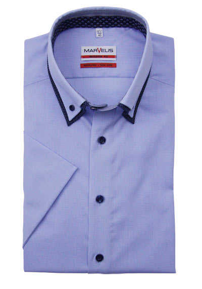 MARVELIS Modern Fit Hemd Halbarm Button Down Kragen Karo hellblau