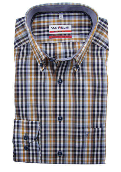 MARVELIS Modern Fit Hemd Langarm Button Down Kragen Karo manderin