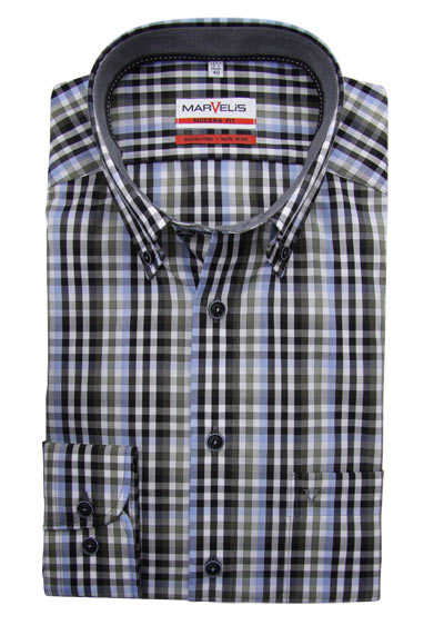 MARVELIS Modern Fit Hemd Langarm Button Down Kragen Karo schwarz