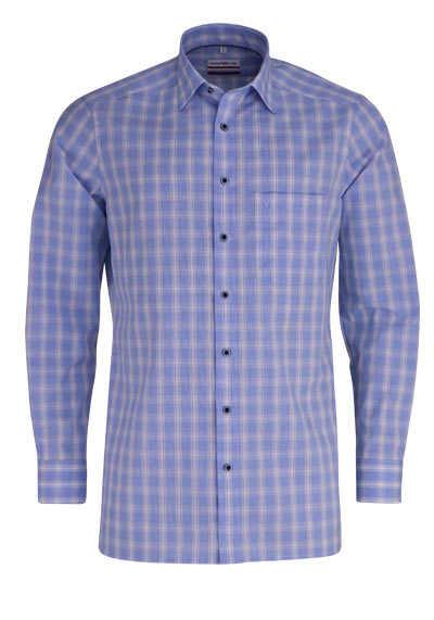 MARVELIS Modern Fit Hemd Langarm New Kent Kragen Karo hellblau - Hemden Meister