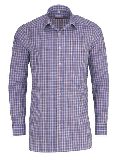 MARVELIS Modern Fit Hemd Langarm New Kent Kragen Karo blau - Hemden Meister