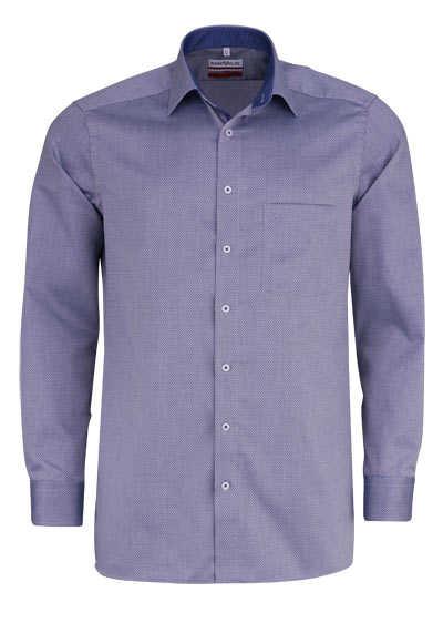 MARVELIS Modern Fit Hemd Langarm New Kent Kragen Muster rauchblau - Hemden Meister