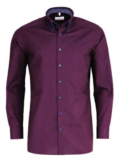 MARVELIS Modern Fit Hemd Langarm Button Down Kragen Besatz weinrot - Hemden Meister