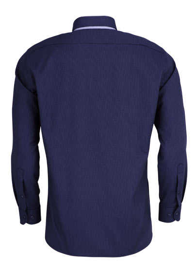 MARVELIS Modern Fit Hemd Langarm Button Down Kragen Punkte navy