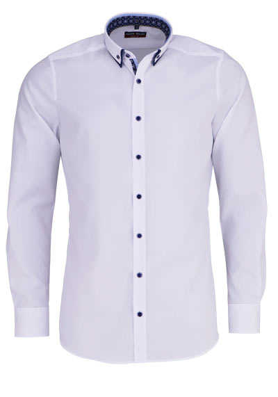 MARVELIS Body Fit Hemd Langarm Button Down Kragen mit Besatz weiß - Hemden Meister
