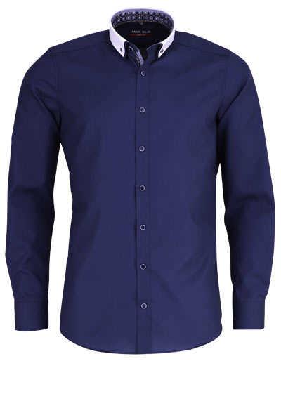 MARVELIS Body Fit Hemd Langarm Button Down Kragen mit Besatz navy - Hemden Meister