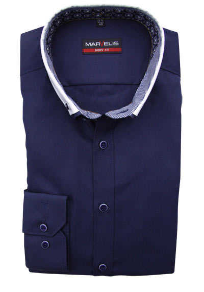 MARVELIS Body Fit Hemd Langarm Button Down Kragen mit Besatz navy preisreduziert