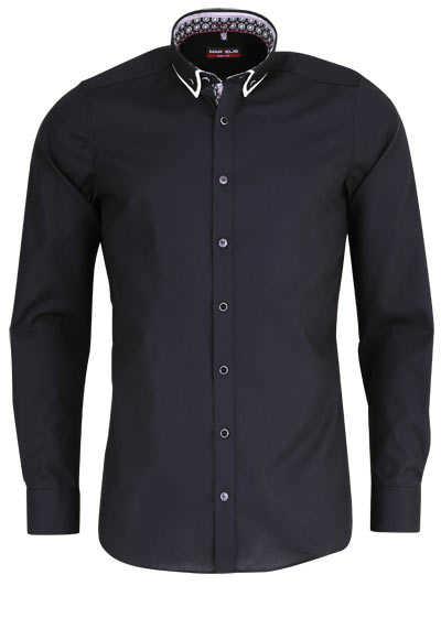 MARVELIS Body Fit Hemd Langarm Button Down Kragen mit Besatz schwarz - Hemden Meister