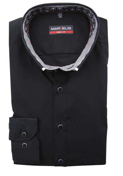 MARVELIS Body Fit Hemd Langarm Button Down Kragen mit Besatz schwarz