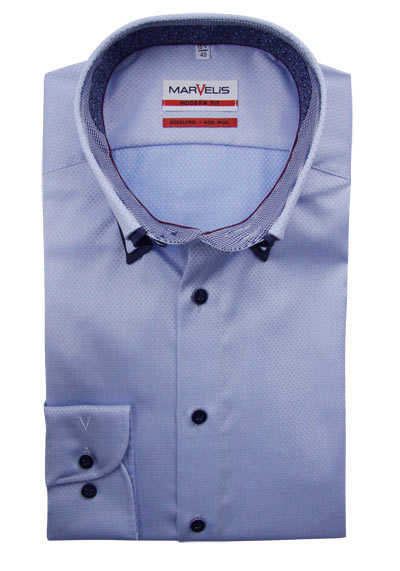 MARVELIS Modern Fit Hemd Langarm Button Down Kragen Muster hellblau