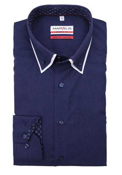 MARVELIS Modern Fit Hemd Langarm Button Down Kragen Struktur navy