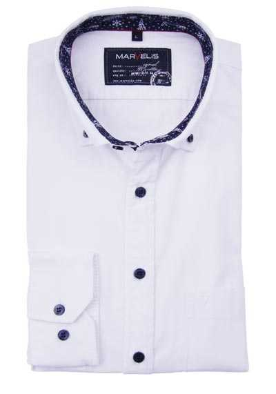 MARVELIS Casual Fit Hemd Langarm Button Down Kragen weiß