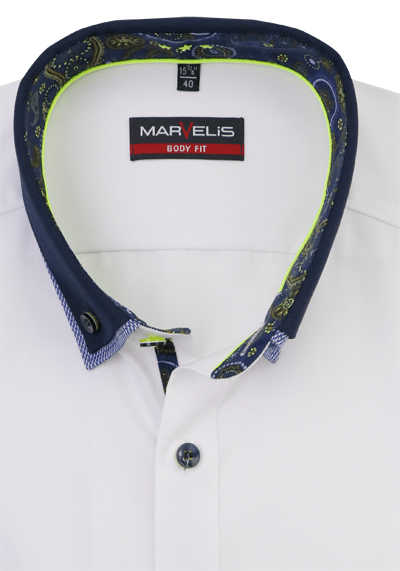 MARVELIS Body Fit Hemd Langarm Button Down Kragen weiß