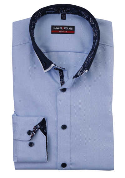 MARVELIS Body Fit Hemd Langarm Button Down Kragen hellblau preisreduziert
