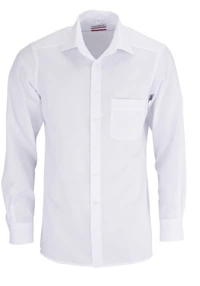 MARVELIS Modern Fit Hemd Langarm mit Brusttasche Popeline weiß - Hemden Meister