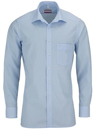 MARVELIS Modern Fit Hemd Langarm mit Brusttasche Popeline hellblau - Hemden Meister