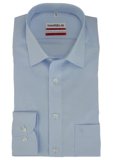 MARVELIS Modern Fit Hemd Langarm mit Brusttasche Popeline hellblau