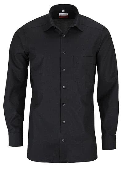 MARVELIS Modern Fit Hemd Langarm mit Brusttasche Popeline schwarz - Hemden Meister