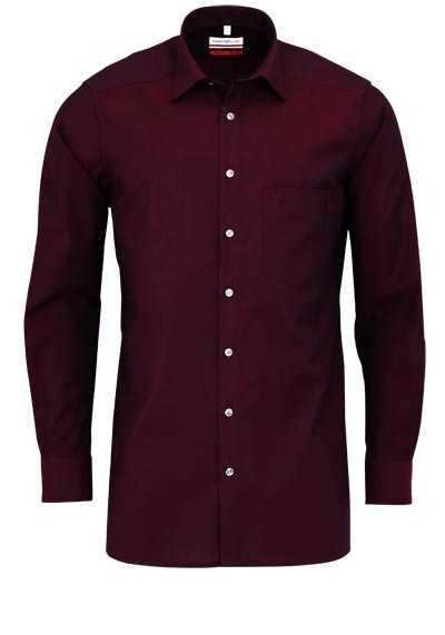 MARVELIS Modern Fit Hemd Langarm Chambray weinrot - Hemden Meister