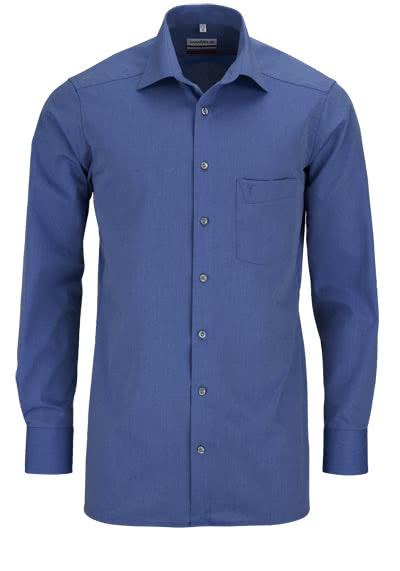 MARVELIS Modern Fit Hemd Langarm mit Brusttasche Chambray rauchblau - Hemden Meister