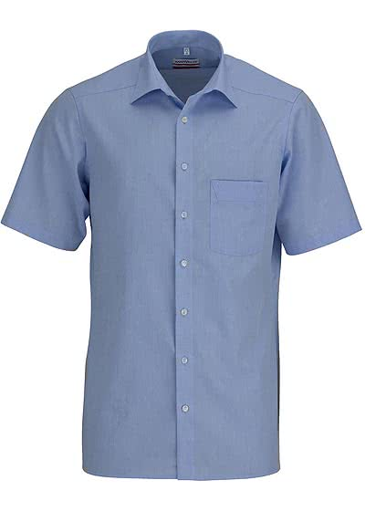 MARVELIS Modern Fit Hemd Halbarm Chambray hellblau - Hemden Meister