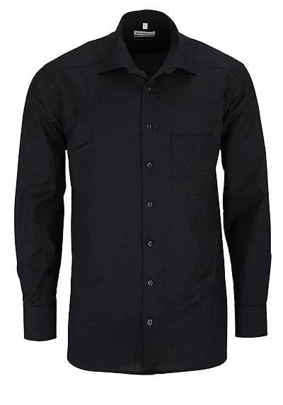 MARVELIS Comfort Fit Hemd Langarm Popeline schwarz - Hemden Meister