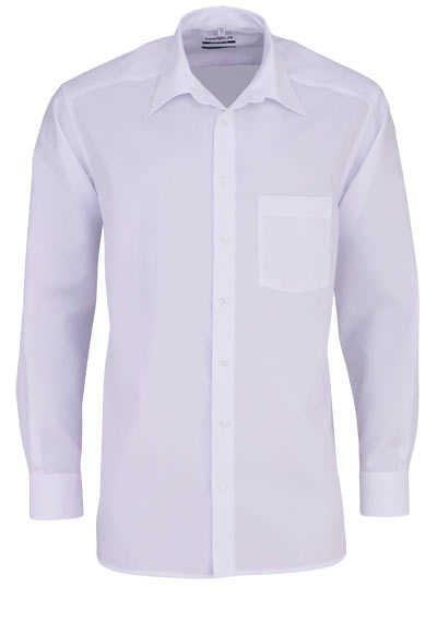 MARVELIS Comfort Fit Hemd Basic Kent Langarm Popeline weiß - Hemden Meister