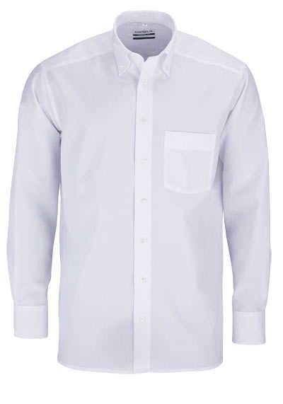 MARVELIS Comfort Fit Hemd Button Down Langarm Popeline weiß - Hemden Meister