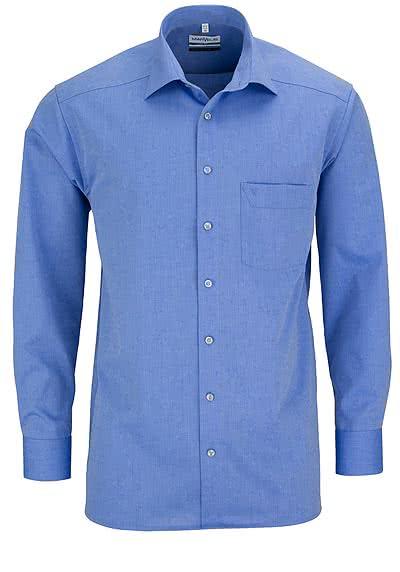 MARVELIS Comfort Fit Hemd Langarm New Kent Kragen mittelblau - Hemden Meister
