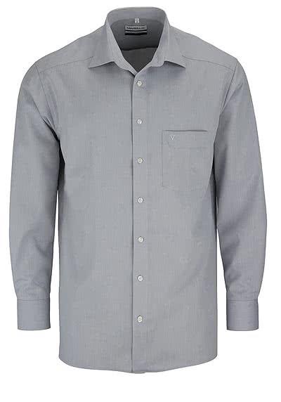 MARVELIS Comfort Fit Hemd Langarm New Kent Kragen mittelgrau - Hemden Meister