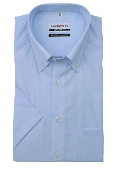 MARVELIS Comfort Fit Hemd Halbarm Button Down Kragen hellblau